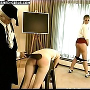 Professor's caning and punishment for 2 cute schoolgirls