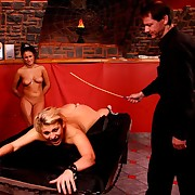 Hot blonde brutally caned on the brush firm ripe bore - serious cane stripes