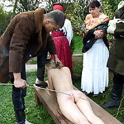 Naked and ashamed - 2 girls caning punishments while tied beside to a bench - dematerialization stripes