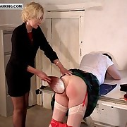 Tryst bird bent over a catch drawing board and spanked with her little red panties down
