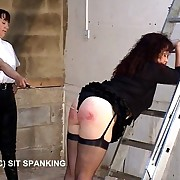 Big buxom arse gets paddled and caned surrounding the outhouse - severe punishments