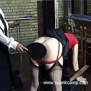 Filthy skirt has harsh whips on her prat