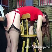Filthy skirt has harsh whips on her prat