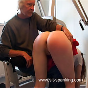 Paddled with respect to the gym with the brush quick skirt up coupled with the brush transitory Y-fronts down - burning buttocks