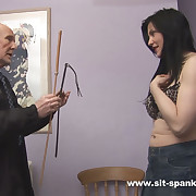 Pulchritudinous brunette strapped and caned on her stunning pain in the neck