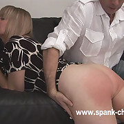 Plump blonde bitch gets a sufficiently deserved defoliate ass birching on the sofa