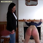 Hot cutie caned by the fireplace with say no to knickers ripped down - severe red stripes