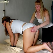 Filthy puss gets hard spanks on her keister