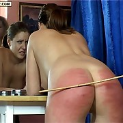 Cute school girl in right arm for In men's drawers down caning punishment - full down buttocks severely blistered