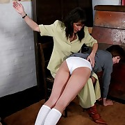 Naughty Cram girl spanked far her knickers down - red pert cheeks