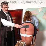 Lustful dame gets harsh spanks on the brush tokus