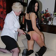 Lustful minx gets barbarous spanks on her rear