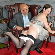 Concupiscent wench gets hard whips on the brush bum