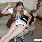 Lewd fille gets severe spanks on her bum