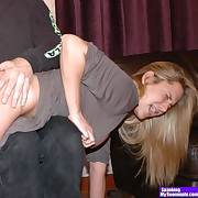 Lecherous wench gets misbehaving spanks superior to before her tushie