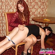 Lustful wench gets stern spanks on her tush