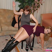 Dissolute chick has cruel whips on her posterior