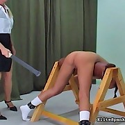 Tanned cutie with taut wazoo receives paddled