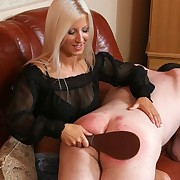 Blonde mistress spanked bad boy