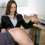Lady boss spanked bad boy