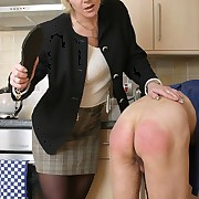 Wife punished evil husband on the kitchen