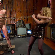 The blond femdom-goddess fucked and smothered a bound man