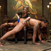 The female-dominator wanked slave`s cock, got her boot liked coupled with housebound on his face