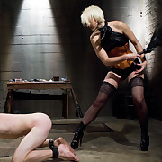 Two dominas flogged and screwed a malesub
