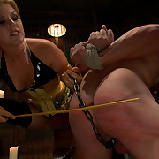 Spanking, pins and strap-on into wazoo of poor male villein