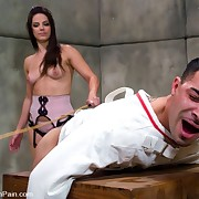 Bobbi Starr beats her bondman chap and fucks his ass