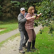 An apple thief milf was punished by angry yeoman