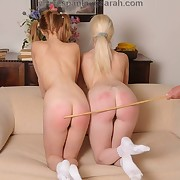 Sarah caned 2 pretty young hotties to tears