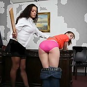 Female queen spanks a worker for stealing