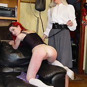 Redhead bitch spanked before enema
