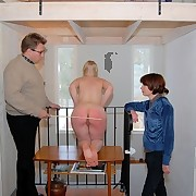 Hot blond exposed exposed and caned hard on her round cheeks