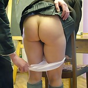 Slutty schoolgirl in white panties got OTK spanking from teacher