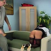 A young woman assumes the position...and is sorry