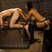 The female-dominator punished, sat on and drilled male sex toy