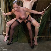 There are dissolute games with slave and his mistress.