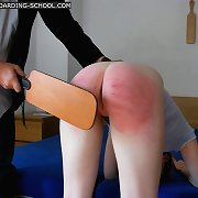 Young teenage booty severely thrashed with a leather paddle