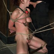 Rough sex and painful nipple and bawdy cleft clamps with bondage