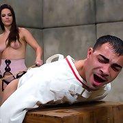 Bobbi Starr beats her bondman lad and bonks his ass