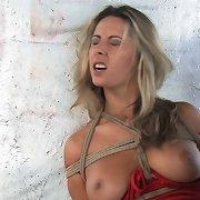 Cute blonde excited in bondage