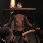 Lass handcuffed in bondage
