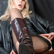 There is nothing like a hot leather outfit on a excited fetish Wife