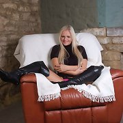 You will love this hot blondes biggest scones and constricted leather boots