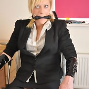 Teen whore dresses up as a secratary and is tied up
