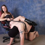This dominatrix-bitch gets her sissy yielding to take up with the tongue her leather boots clean