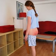 Innocent looking redhead abased and spanked on her perfectly formed bottom