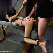 Ebony serf tied, gagged and drilled hard